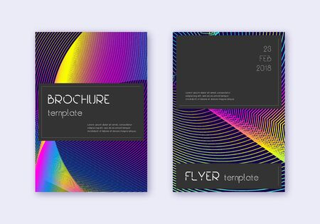 Black cover design template set. Rainbow abstract lines on dark blue background. Amazing cover design. Noteworthy catalog, poster, book template etc.