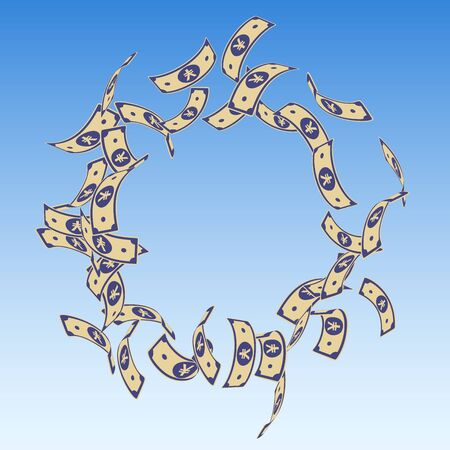 Chinese yuan notes falling. Floating CNY bills on blue sky background. China money. Ecstatic vector illustration. Classy jackpot, wealth or success concept.