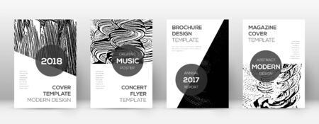 Cover page design template. Modern brochure layout. Comely trendy abstract cover page. Black and white grunge texture background. Gorgeous poster.