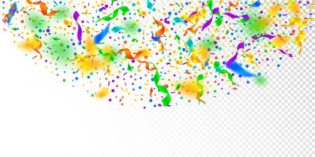 Streamers and confetti. Festive tinsel and foil ribbons. Confetti semicircle on white transparent background. Bizarre paty overlay template. Indelible celebration concept. Иллюстрация