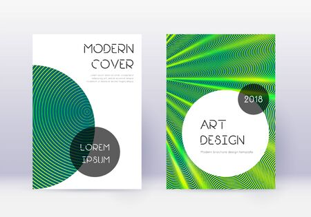 Trendy cover design template set. Green abstract lines on dark background. Gorgeous cover design. Remarkable catalog, poster, book template etc.