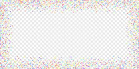 Festive confetti. Celebration stars. Colorful stars dense on transparent background. Delightful festive overlay template. Fabulous vector illustration.