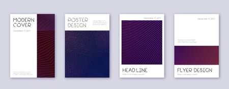 Minimal brochure design template set. Violet abstract lines on dark background. Artistic brochure design. Noteworthy catalog, poster, book template etc.