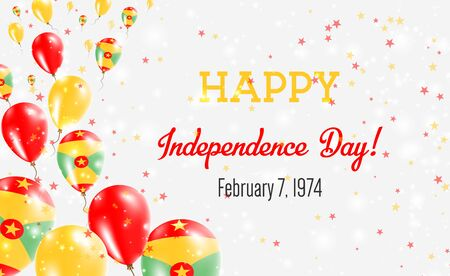Grenada Independence Day Greeting Card. Flying Balloons in Grenada National Colors. Happy Independence Day Grenada Vector Illustration.