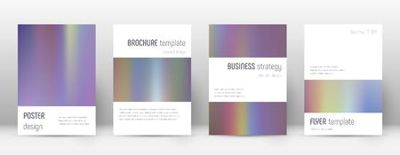 Flyer layout. Minimalistic eminent template for Brochure, Annual Report, Magazine, Poster, Corporate Presentation, Portfolio, Flyer. Artistic bright hologram cover page.