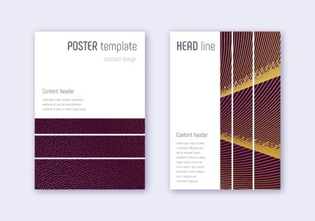 Geometric cover design template set. Gold abstract lines on maroon background. Beautiful cover design. Immaculate catalog, poster, book template etc.
