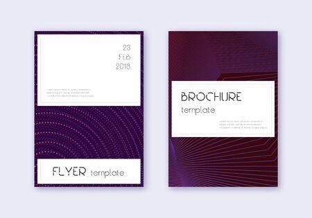 Stylish cover design template set. Violet abstract lines on dark background. Fine cover design. Unique catalog, poster, book template etc. Illusztráció