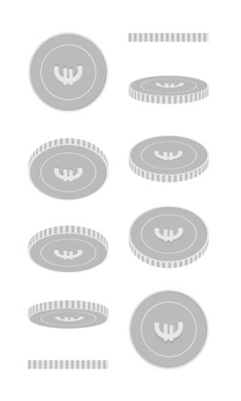 European Union Euro rotating coins set, animation ready. Black and white EUR silver coins rotation. Europe metal money. Delightful cartoon vector illustration. Иллюстрация