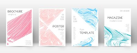 Cover page design template. Triangle brochure layout. Classy trendy abstract cover page. Pink and blue grunge texture background. Fine poster.