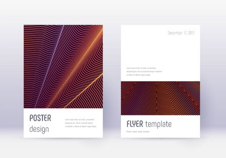 Minimalistic cover design template set. Orange abstract lines on wine red background. Elegant cover design. Enchanting catalog, poster, book template etc.