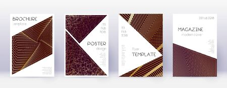 Triangle brochure design template set. Gold abstract lines on bordo background. Bold brochure design. Popular catalog, poster, book template etc.