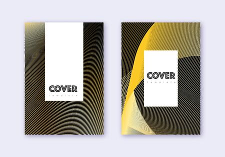 Hipster cover design template set. Gold abstract lines on black background. Captivating cover design. Tempting catalog, poster, book template etc.