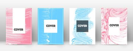 Cover page design template. Hipster brochure layout. Captivating trendy abstract cover page. Pink and blue grunge texture background. Ecstatic poster. Illusztráció