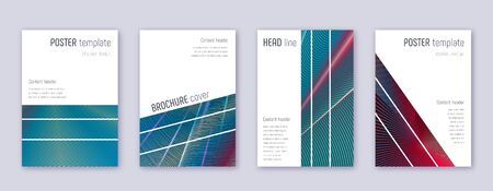 Geometric brochure design template set. Red abstract lines on white blue background. Alluring brochure design. Surprising catalog, poster, book template etc.