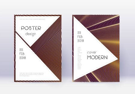 Stylish cover design template set. Gold abstract lines on maroon background. Fair cover design. Resplendent catalog, poster, book template etc.