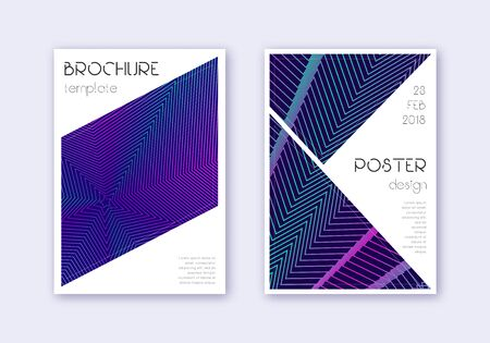 Triangle cover design template set. Neon abstract lines on dark blue background. Ideal cover design. Juicy catalog, poster, book template etc.