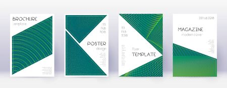 Triangle brochure design template set. Green abstract lines on dark background. Bold brochure design. Tempting catalog, poster, book template etc.