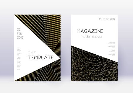Triangle cover design template set. Gold abstract lines on black background. Impressive cover design. Appealing catalog, poster, book template etc.