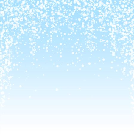 Amazing falling snow Christmas background. Subtle flying snow flakes and stars on winter sky background. Authentic winter silver snowflake overlay template. Quaint vector illustration.