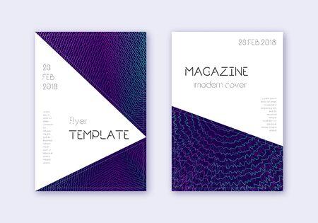 Triangle cover design template set. Neon abstract lines on dark blue background. Impressive cover design. Unusual catalog, poster, book template etc. Illusztráció