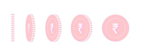 Indian rupee rotating coins set, animation ready. Pink INR copper coins rotation. India metal money. Grand cartoon vector illustration. Иллюстрация