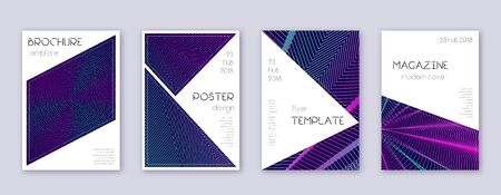 Triangle brochure design template set. Neon abstract lines on dark blue background. Breathtaking brochure design. Adorable catalog, poster, book template etc.