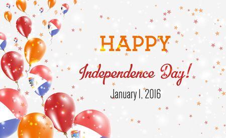 Sint Maarten Independence Day Greeting Card. Flying Balloons in Sint Maarten National Colors. Happy Independence Day Sint Maarten Vector Illustration. Reklamní fotografie - 129922371