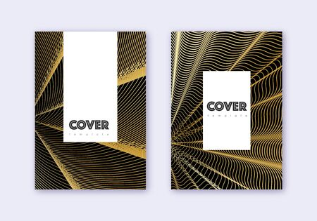 Hipster cover design template set. Gold abstract lines on black background. Charming cover design. Amusing catalog, poster, book template etc.