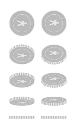 Chinese yuan rotating coins set, animation ready. Black and white CNY silver coins rotation. China metal money. Attractive cartoon vector illustration.