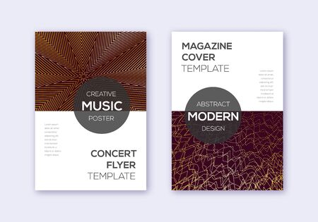 Modern cover design template set. Gold abstract lines on bordo background. Exceptional cover design. Comely catalog, poster, book template etc.
