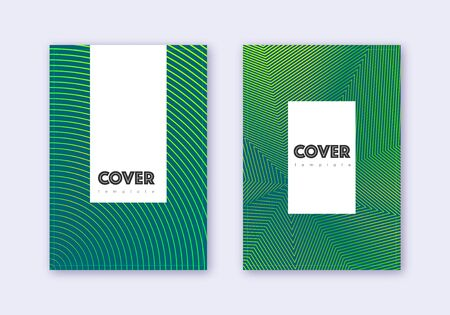 Hipster cover design template set. Green abstract lines on dark background. Charming cover design. Wonderful catalog, poster, book template etc. Illusztráció
