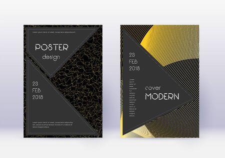 Black cover design template set. Gold abstract lines on black background. Actual cover design. Exceptional catalog, poster, book template etc. Illusztráció