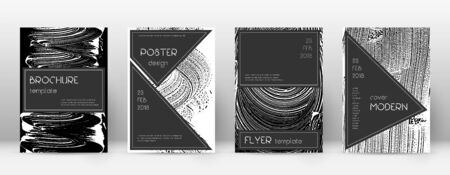 Cover page design template. Black brochure layout. Beauteous trendy abstract cover page. Black and white grunge texture background. Ideal poster.