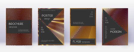 Black brochure design template set. Gold abstract lines on bordo background. Actual brochure design. Emotional catalog, poster, book template etc. Illusztráció