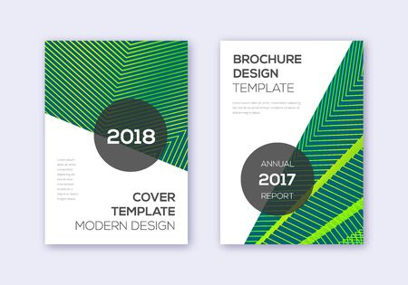 Modern cover design template set. Green abstract lines on dark background. Extra cover design. Surprising catalog, poster, book template etc. Иллюстрация