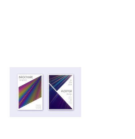 Triangle cover design template set. Rainbow abstract lines on dark blue background. Imaginative cover design. Curious catalog, poster, book template etc.