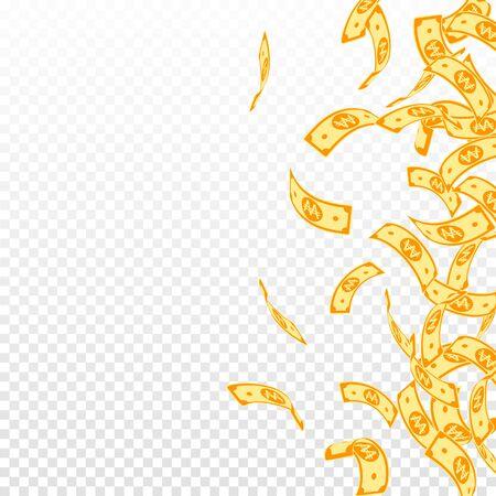Korean won notes falling. Floating WON bills on transparent background. Korea money. Decent vector illustration. Mind-blowing jackpot, wealth or success concept.