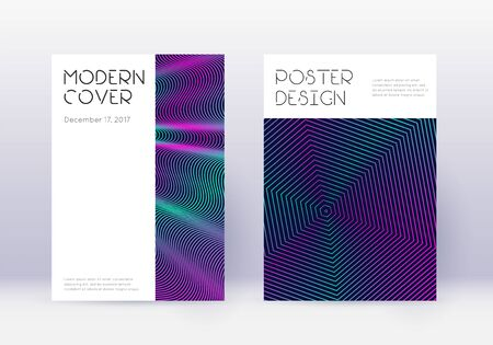 Minimal cover design template set. Neon abstract lines on dark blue background. Dazzling cover design. Divine catalog, poster, book template etc.