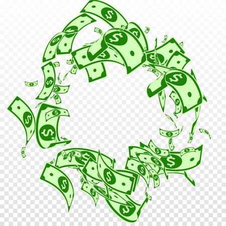 American dollar notes falling. Messy USD bills on transparent background. USA money. Cool vector illustration. Favorable jackpot, wealth or success concept. 일러스트