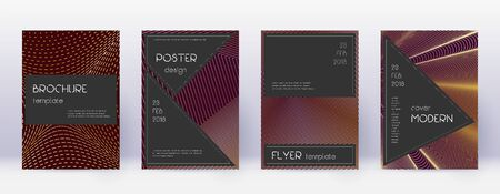 Black brochure design template set. Gold abstract lines on bordo background. Actual brochure design. Exquisite catalog, poster, book template etc.