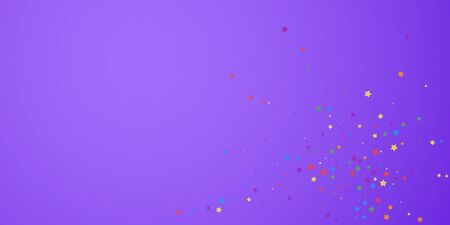 Festive confetti. Celebration stars. Joyous stars on bright purple background. Curious festive overlay template. Neat vector illustration.