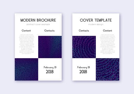 Business cover design template set. Neon abstract lines on dark blue background. Artistic cover design. Curious catalog, poster, book template etc.