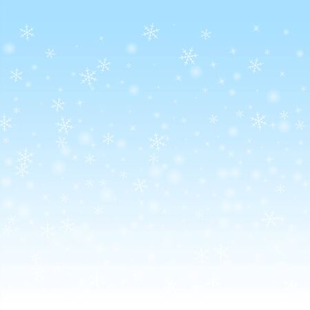 Sparse glowing snow Christmas background. Subtle flying snow flakes and stars on winter sky background. Awesome winter silver snowflake overlay template. Precious vector illustration. Ilustração