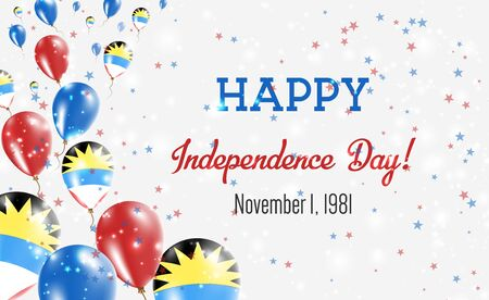 Antigua and Barbuda Independence Day Greeting Card. Flying Balloons in Antigua and Barbuda National Colors. Happy Independence Day Antigua and Barbuda Vector Illustration.
