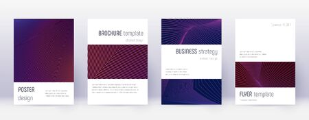 Minimalistic brochure design template set. Violet abstract lines on dark background. Authentic brochure design. Terrific catalog, poster, book template etc.