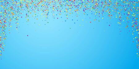 Festive confetti. Celebration stars. Rainbow bright stars on blue sky background. Dazzling festive overlay template. Unequaled vector illustration.