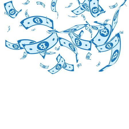 Bitcoin, internet currency notes falling. Random BTC bills on white background. Cryptocurrency, digital money. Alive vector illustration. Remarkable jackpot, wealth or success concept. 일러스트