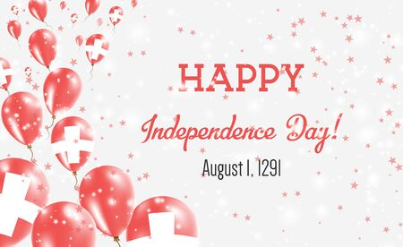 Switzerland Independence Day Greeting Card. Flying Balloons in Switzerland National Colors. Happy Independence Day Switzerland Vector Illustration.