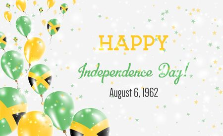 Jamaica Independence Day Greeting Card. Flying Balloons in Jamaica National Colors. Happy Independence Day Jamaica Vector Illustration.  イラスト・ベクター素材