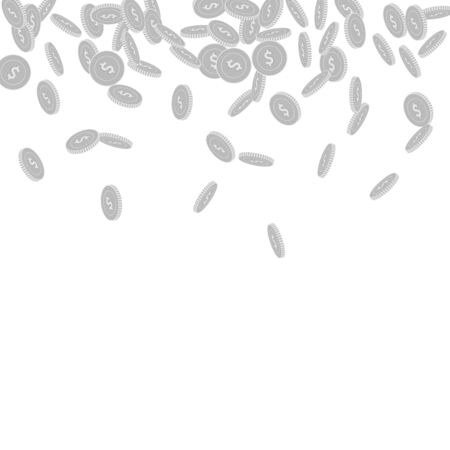American dollar coins falling. Scattered black and white USD small coins. Jackpot or success concept. Bewitching scatter top gradient vector illustration.